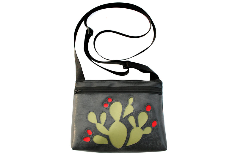 Green Prickly Pear on distressed gunmetal grey crossbody purse