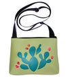 Green Prickly Pear on turquoise crossbody purse