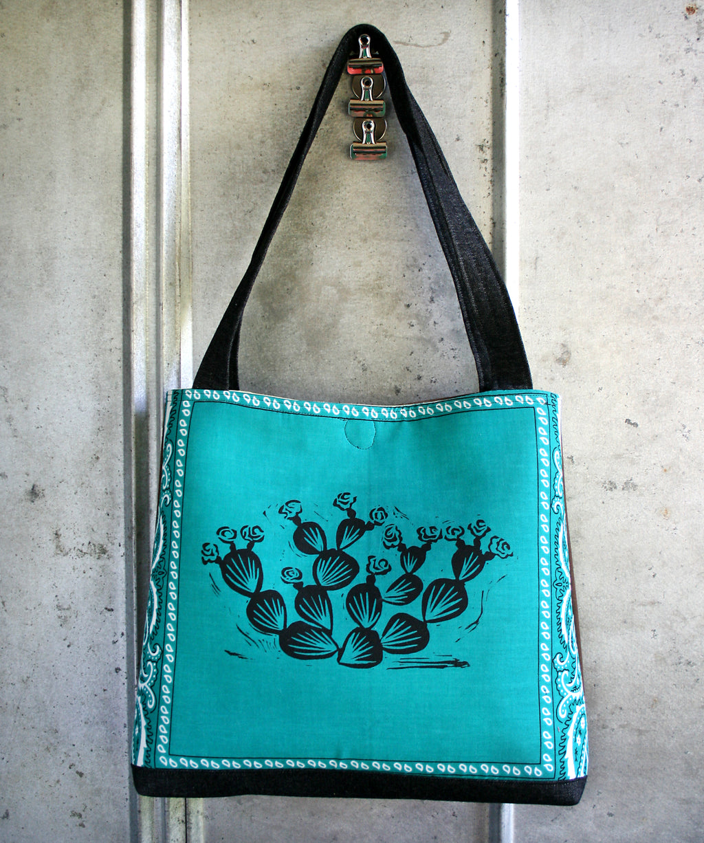 Prickly Pear tote in teal