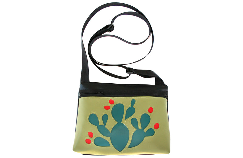 Turquoise Prickly Pear on green crossbody purse