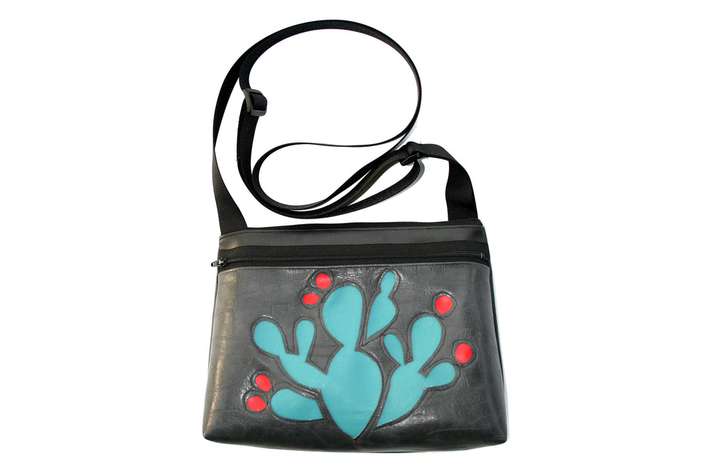 Turquoise Prickly Pear on gunmetal grey crossbody purse