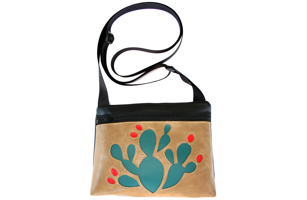 Turquoise Prickly Pear on tan crossbody purse