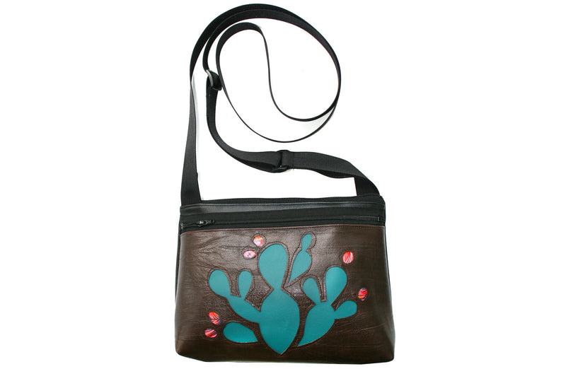 Turquoise Prickly Pear on distressed dark brown crossbody purse
