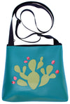 Glossy Black Bird on Turquoise mid-size crossbody