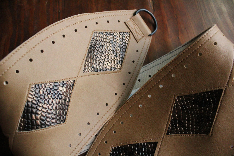 "Diamondback: bronze ""snakeskin"" on tan vinyl belt"