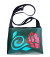 red flower turquoise stem on all dark green sm crossbody