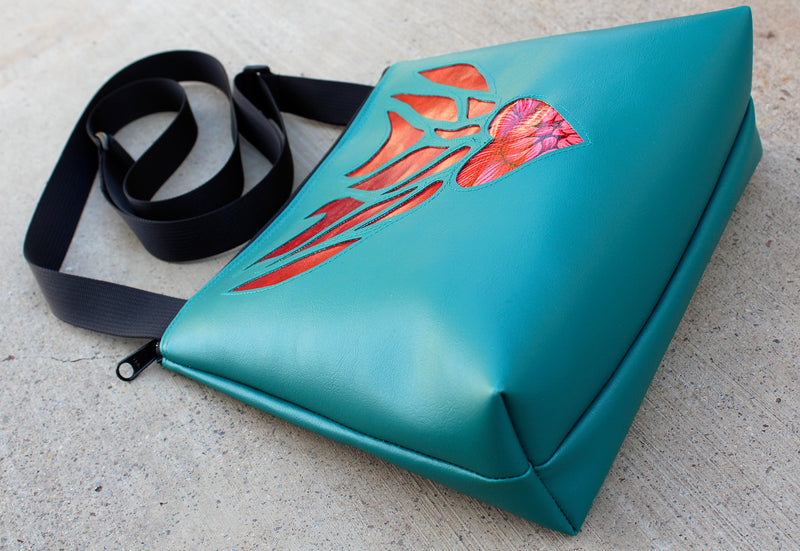 Flaming Heart on Turquoise mid-size crossbody