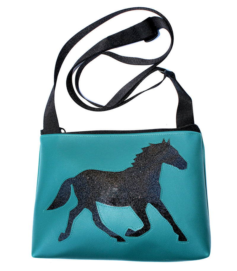 Glitter black horse on all turquoise sm crossbody