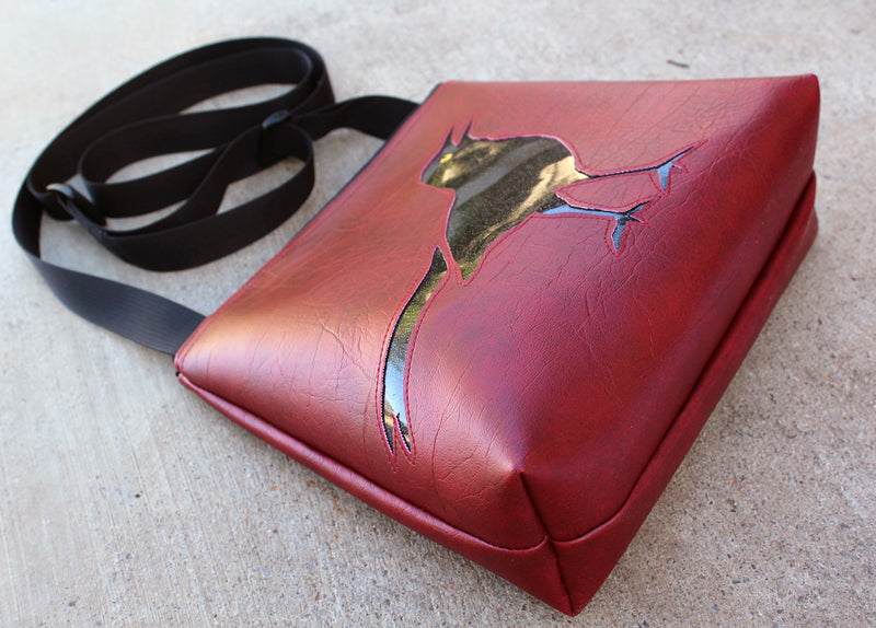 Glitter Black Bird on Dark Red mid-size crossbody