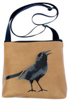 Black Bird on tan mid-size crossbody