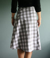 Wrap skirt with century plant agave on grey checks