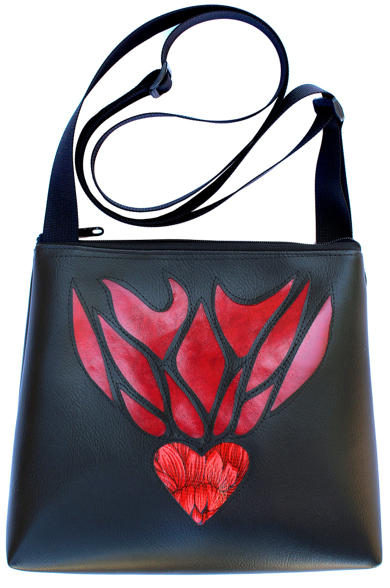 Flaming Heart on Black mid-size crossbody