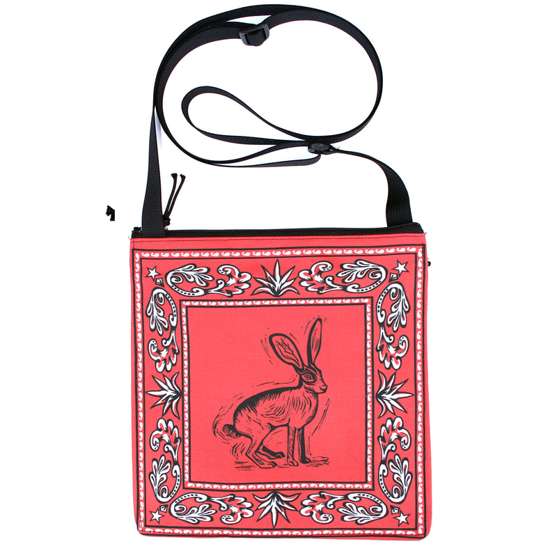 Bandana bag: Jackrabbit on coral