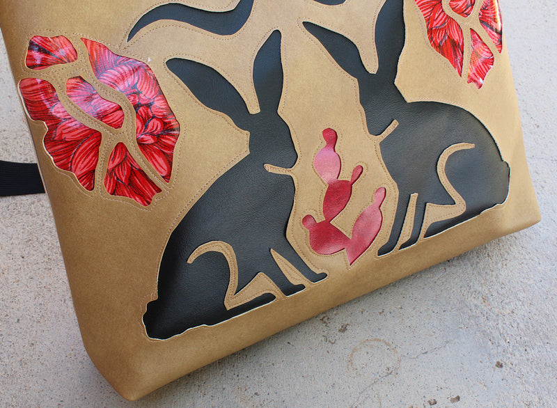 Jackrabbits and flowers on tan vinyl