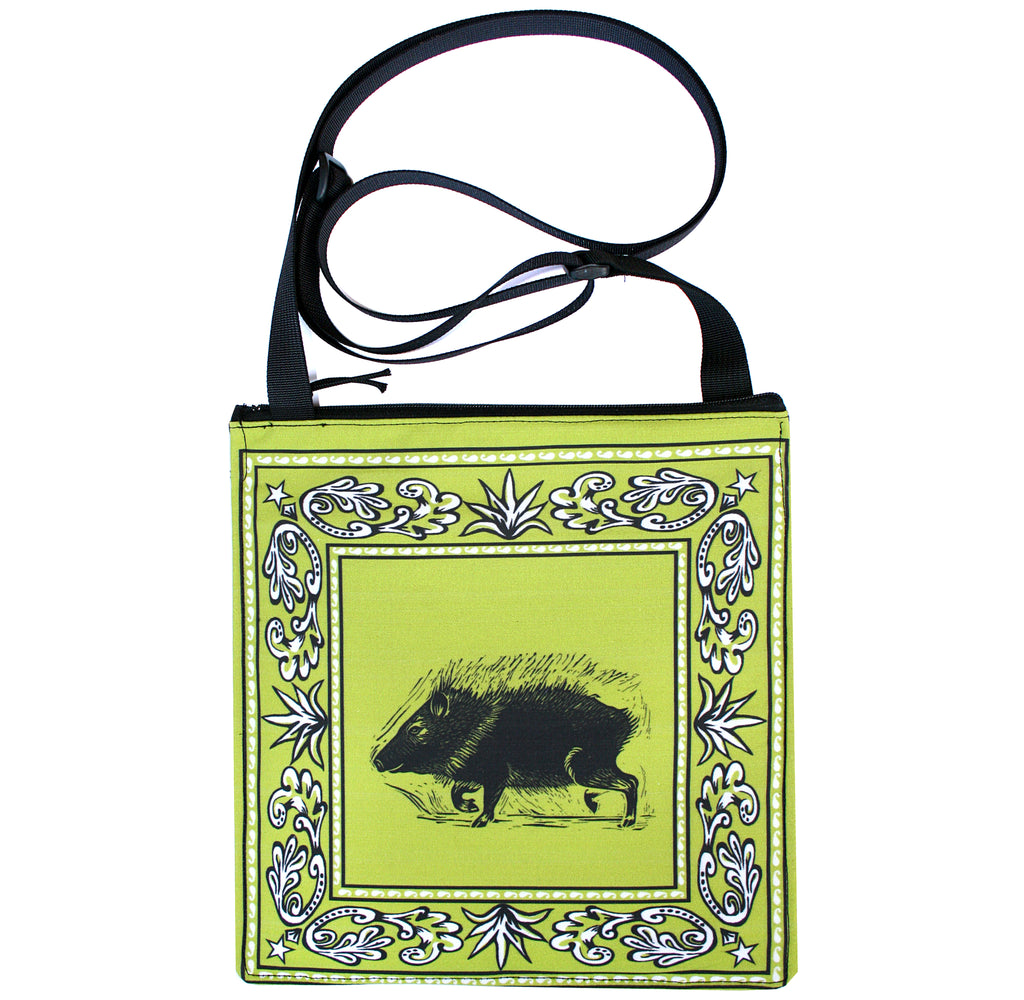 Bandana bag: Javelina on green