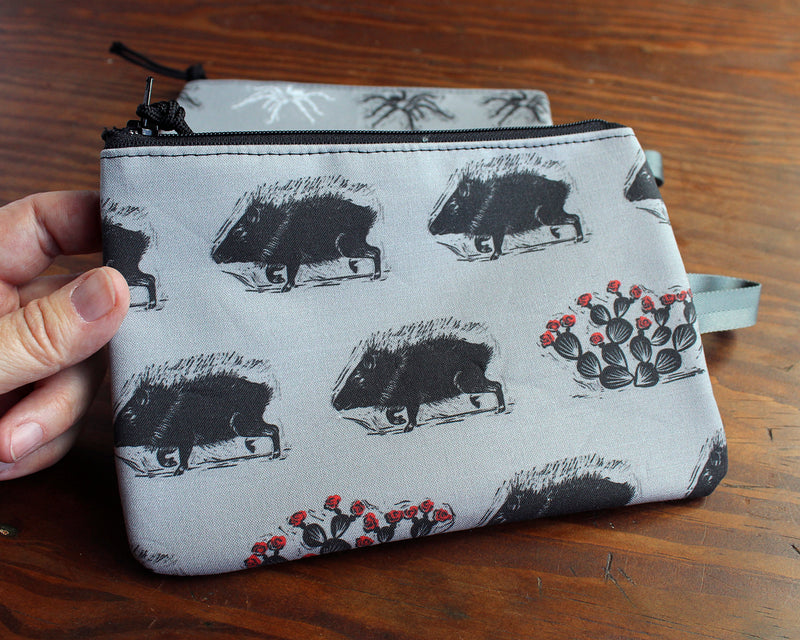 tarantula/javelina zipper bag