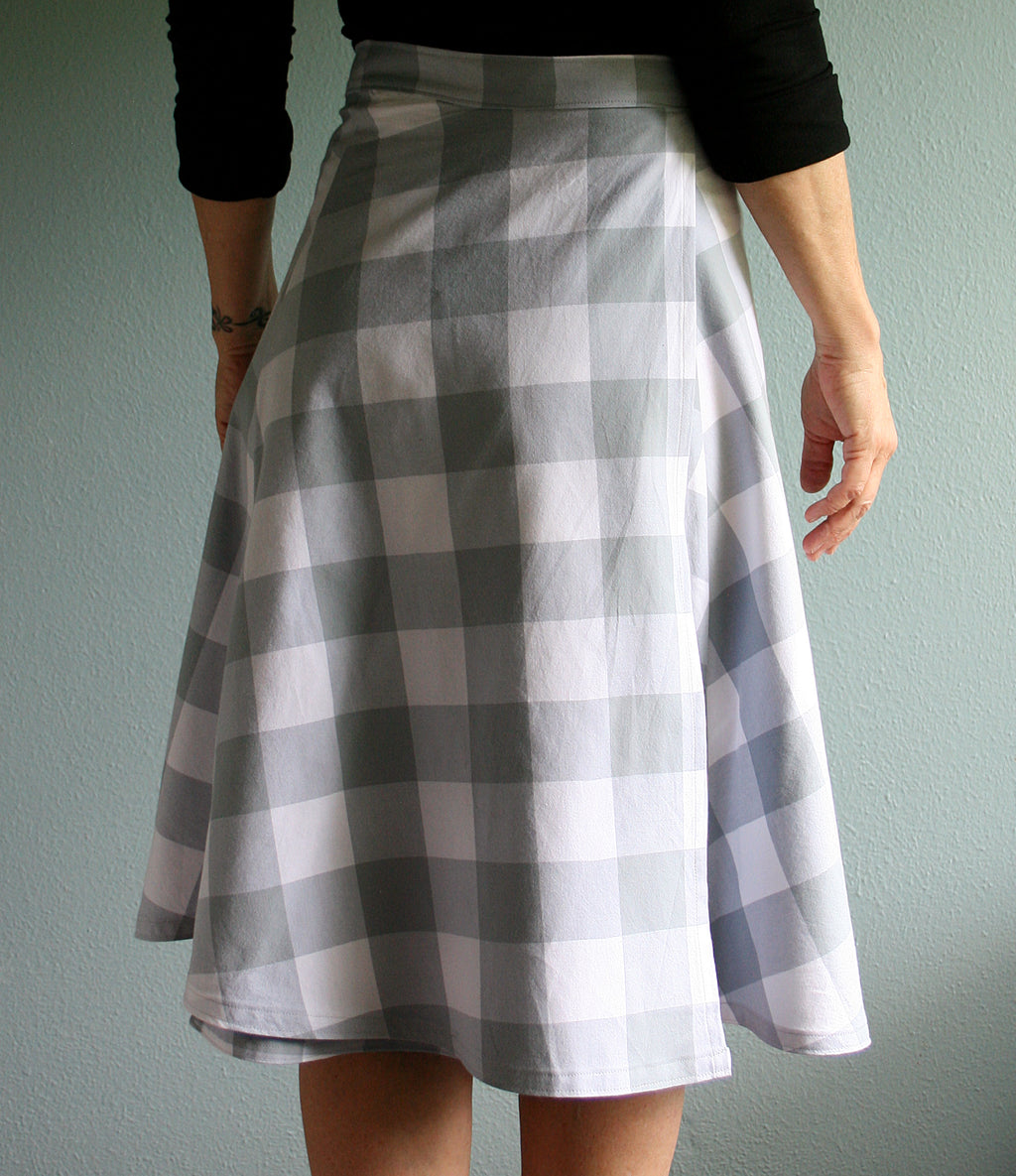 Wrap skirt with century plant agave on soft blue checks