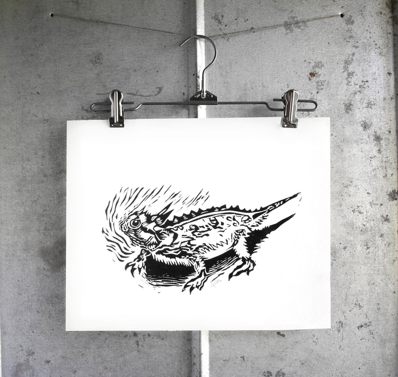 11x14 Horned Lizard relief print