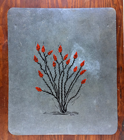 Big Bend Bluebonnet relief print on 12x18 paper