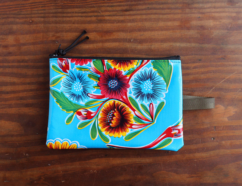 Turquoise floral oilcloth zipper bag