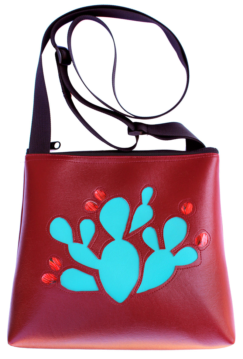 Prickly Pear on Burgundy mid-size crossbody