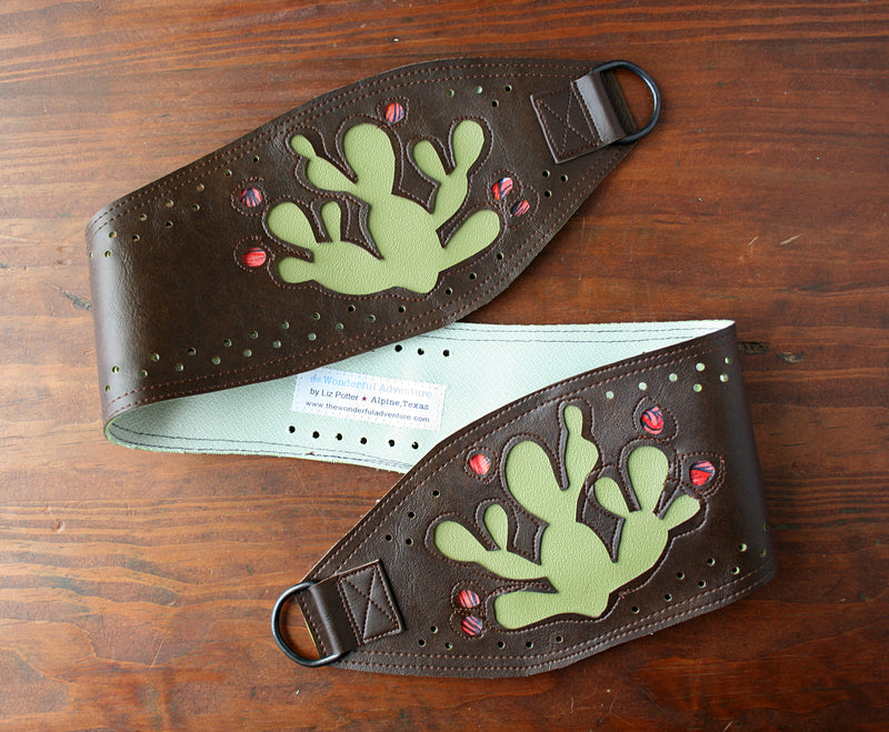 Prickly pear on brown vinyl belt