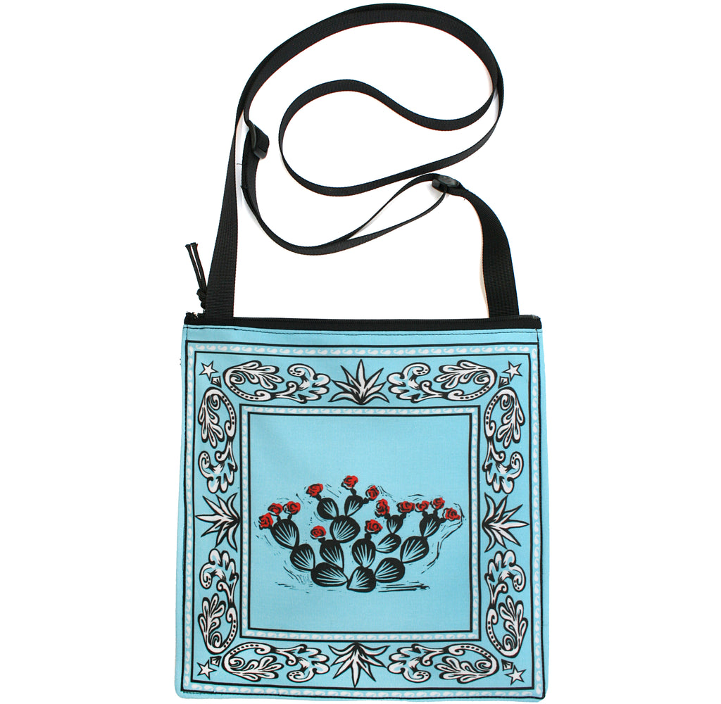 Bandana bag: prickly pear on blue