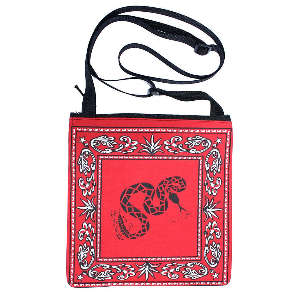 Bandana bag: rattlesnake on red
