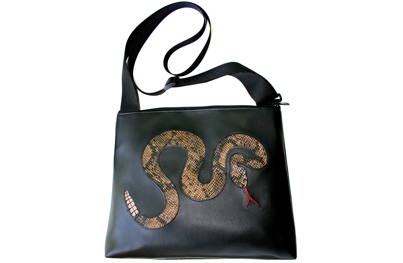 Rattlesnake on black vinyl large bag