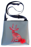 Red Jackalope on Grey mid-size crossbody