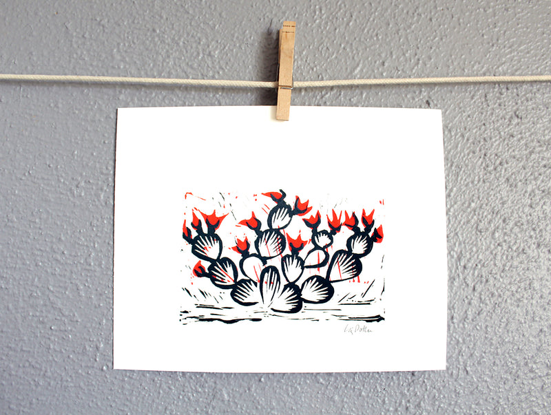 8x10 Prickly Pear relief print
