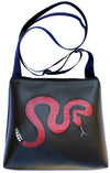 Red Snake on Black mid-size crossbody