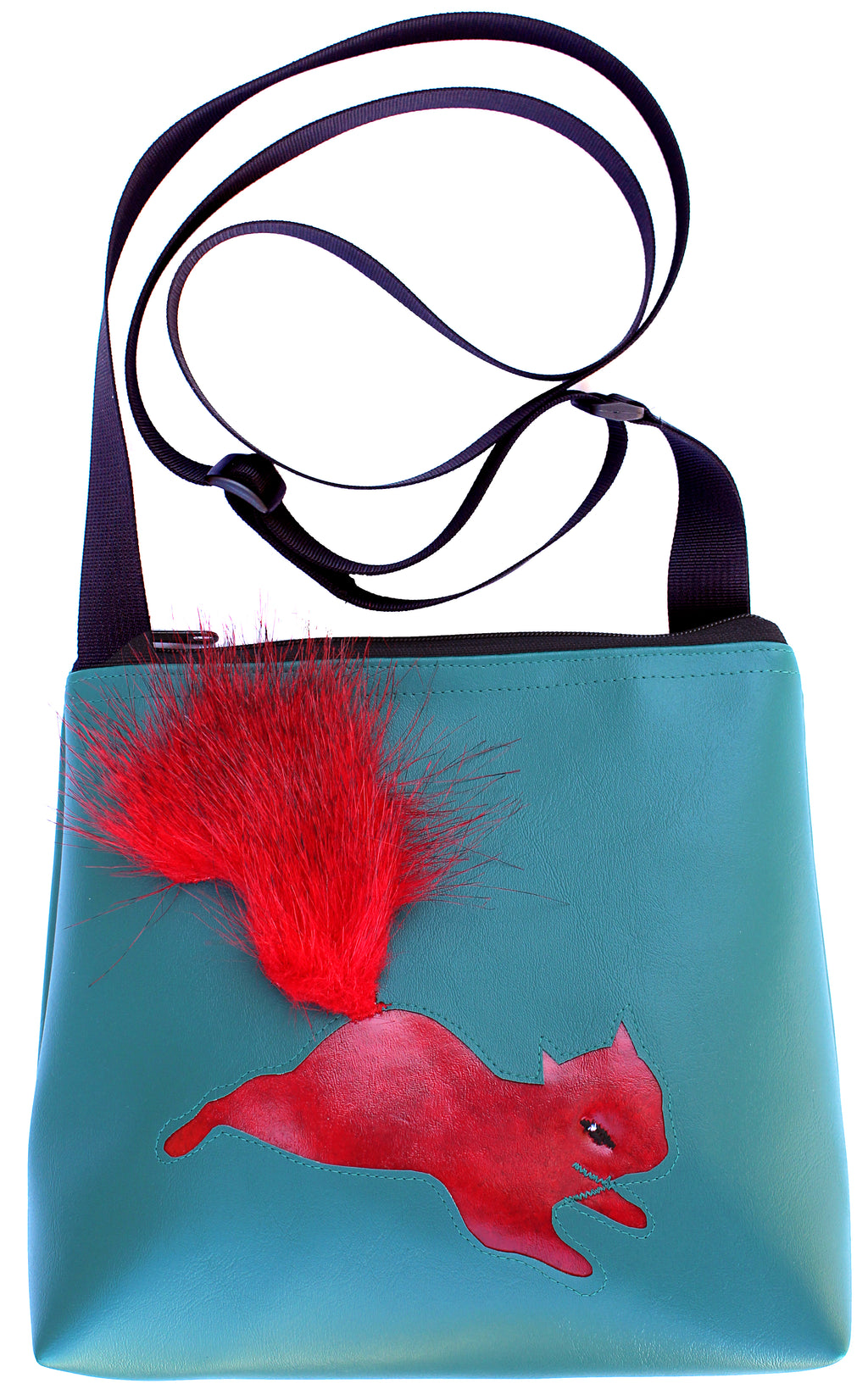 Red Squirrel on Turquoise mid-size crossbody