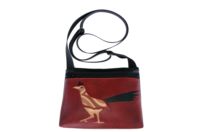 Roadrunner on dark red crossbody purse