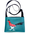 Red roadrunner on all turquoise sm crossbody