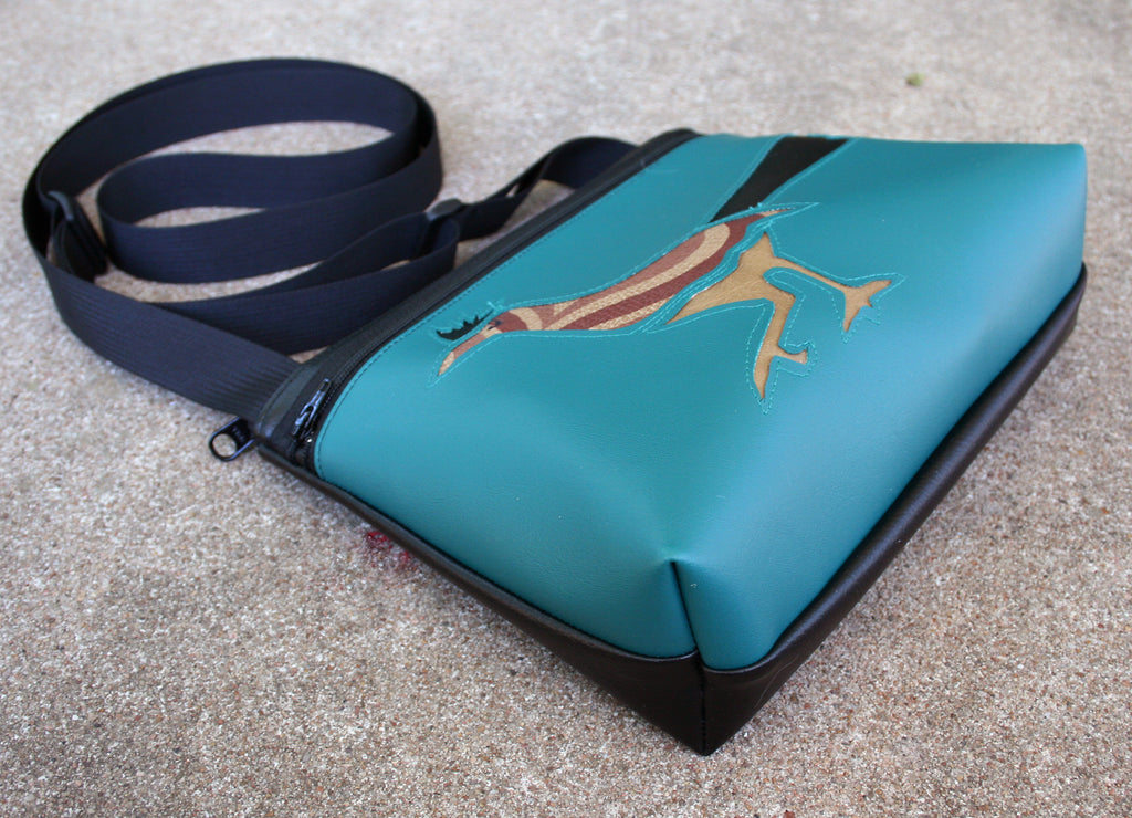 Roadrunner on turquoise crossbody purse