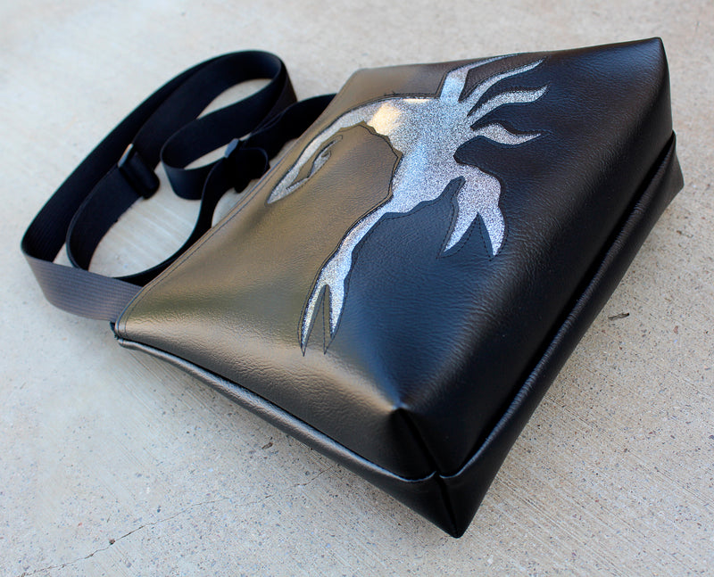 Glitter Scorpion on Black mid-size crossbody
