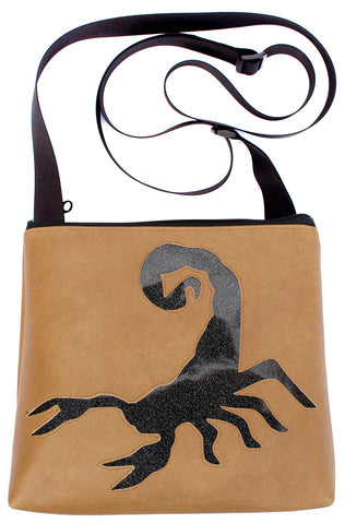 Rattlesnake on tan mid-size crossbody