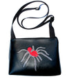 Silver glitter tarantula on all black sm crossbody