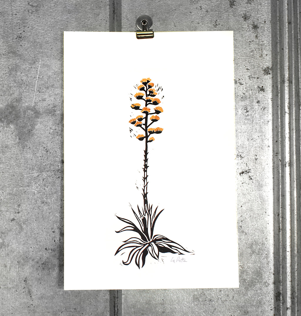 Small Century Plant (gold) on 12x18 paper