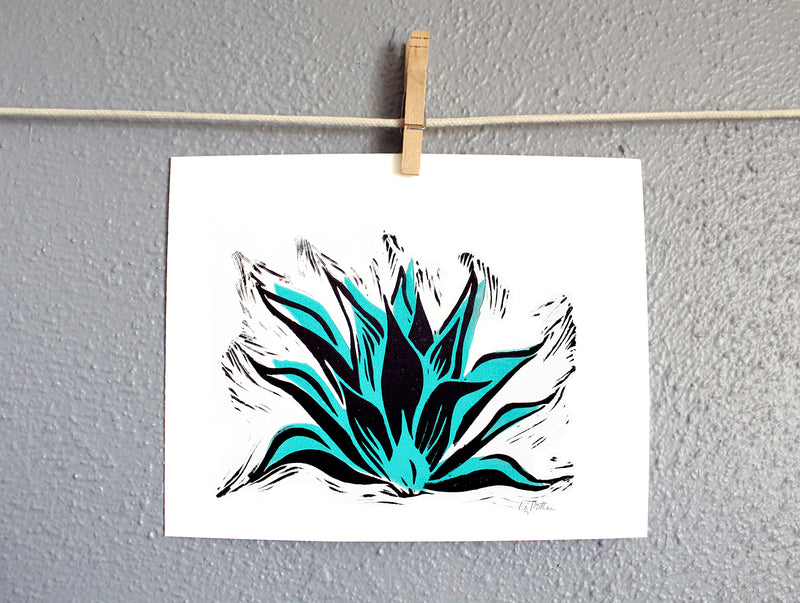8x10 Blue agave relief print