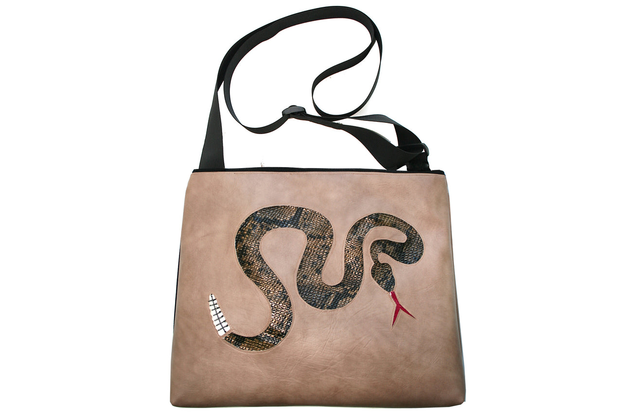Rattlesnake on stone vinyl large bag