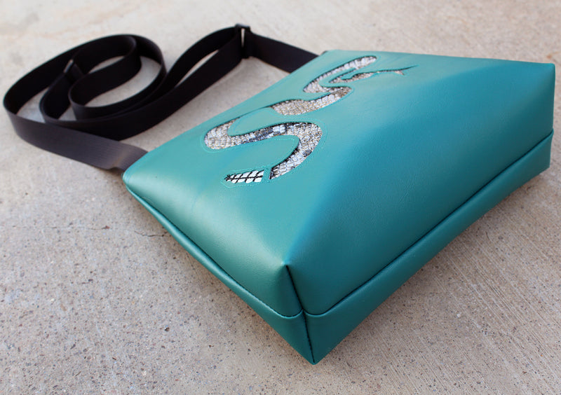 Silver Rattlesnake on Turquoise mid-size crossbody