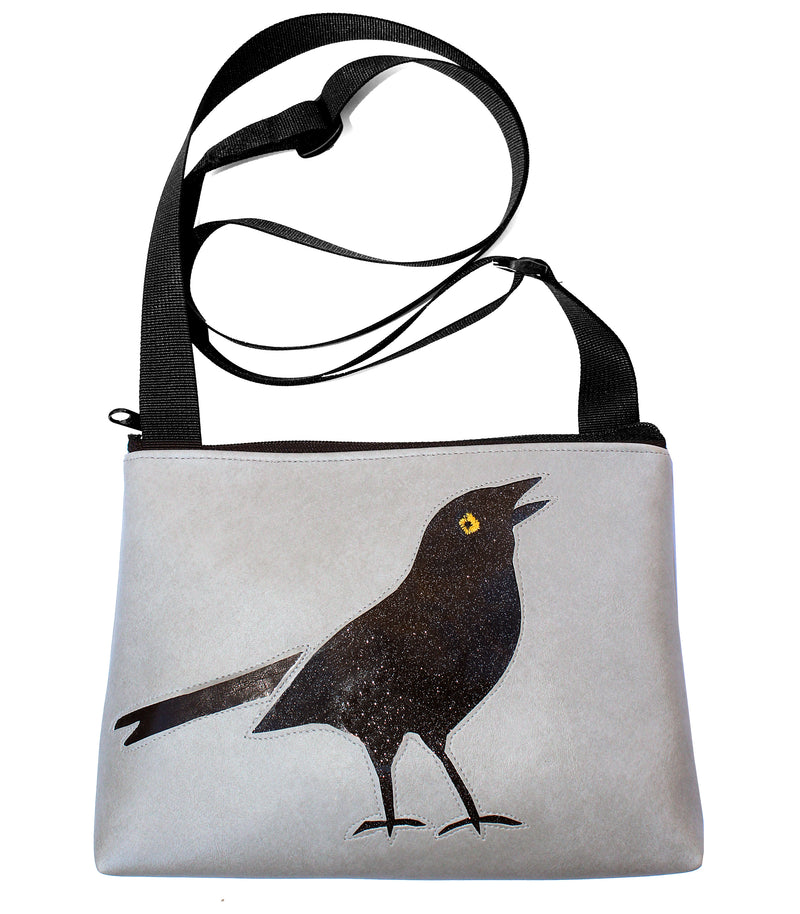 Sparkle grackle on all light gray sm crossbody