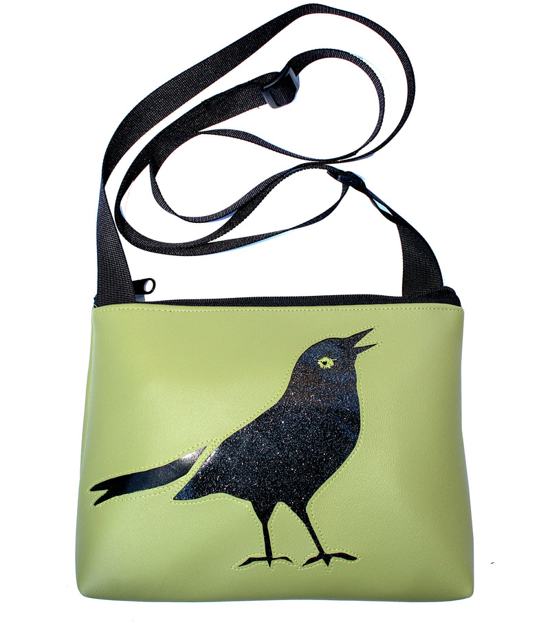 Sparkle grackle on all green sm crossbody