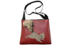 Armadillo on burgundy vinyl large bag