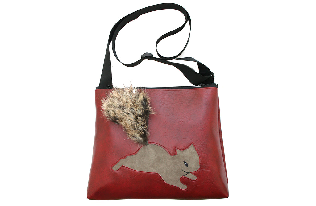 Squirrel on dark red vinyl large bag