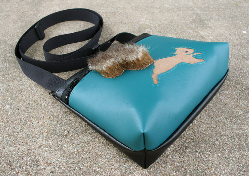 Squirrel on turquoise small crossbody