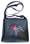 Glitter Tarantula on Black mid-size crossbody