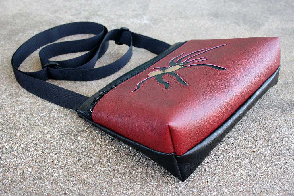 Tarantula on dark red small crossbody purse
